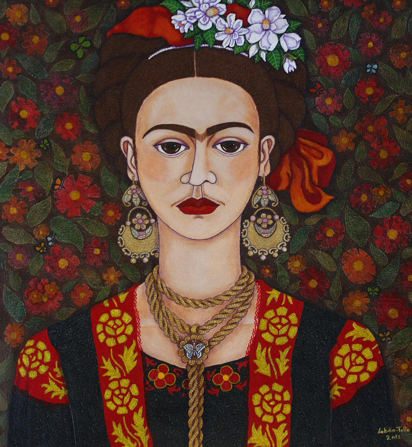 Frida With Butterflies Painting  - Frida With Butterflies Fine Art Print