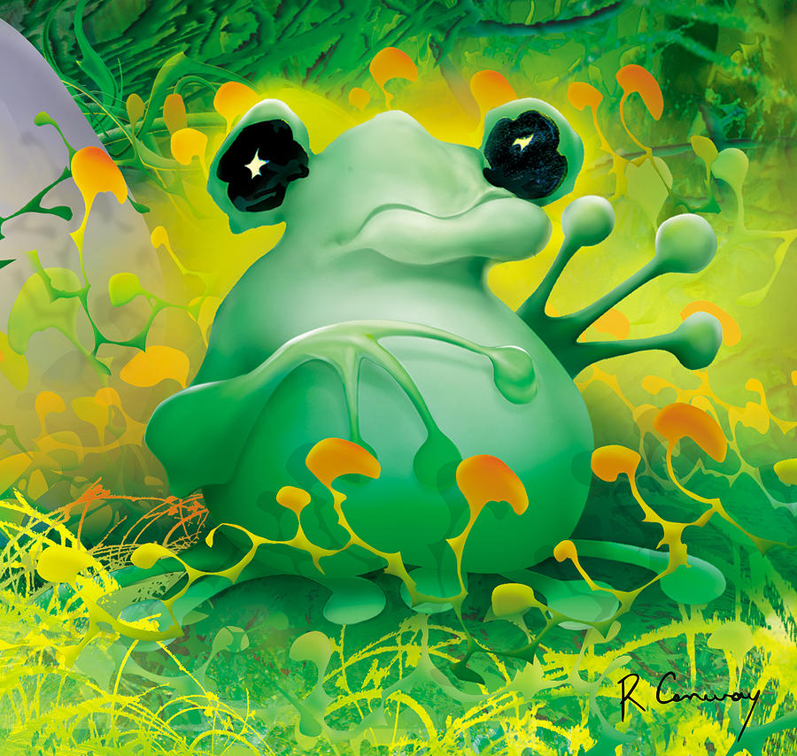 Frog Digital Art - Friendly Frog by Robert Conway