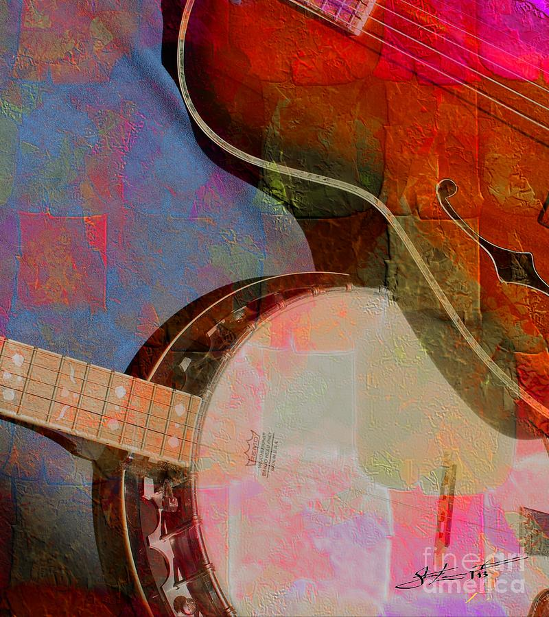 Friends Again Digital Banjo And Guitar Art By Steven Langston Photograph  - Friends Again Digital Banjo And Guitar Art By Steven Langston Fine Art Print