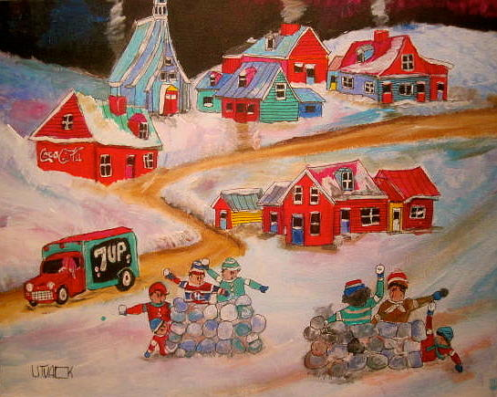 Snowball Fight Painting - Friends Snowball Fight Montreal Memories by Michael Litvack