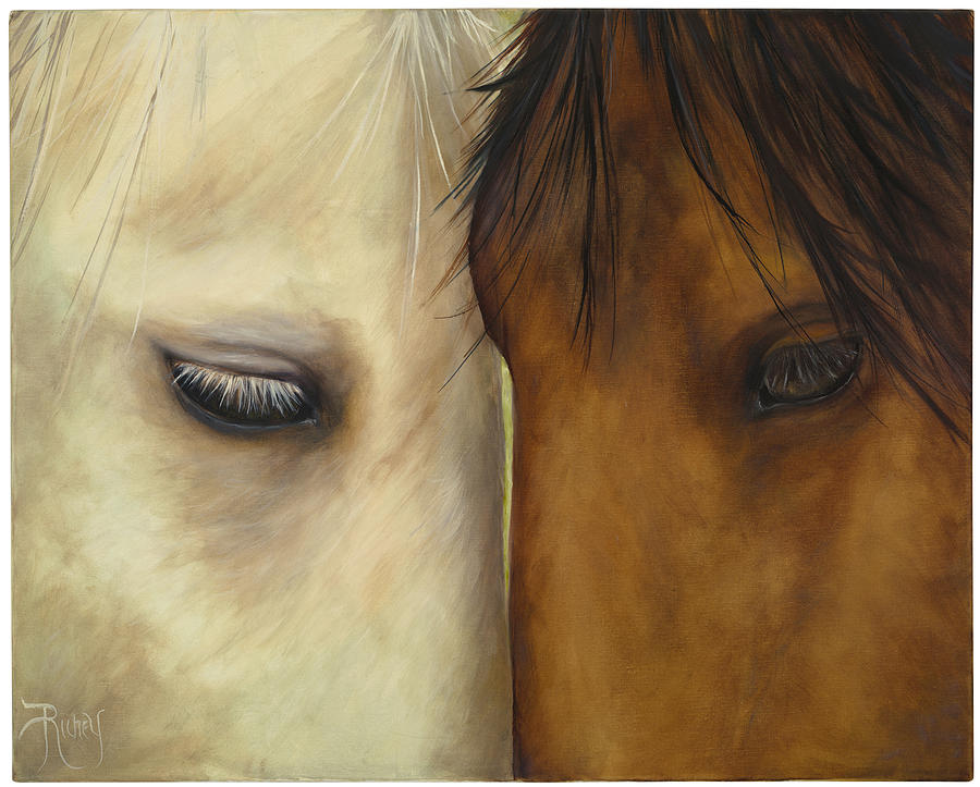 Horses Wildlife Nature Foul Western Scene Painting - Friends by Suzie Richey