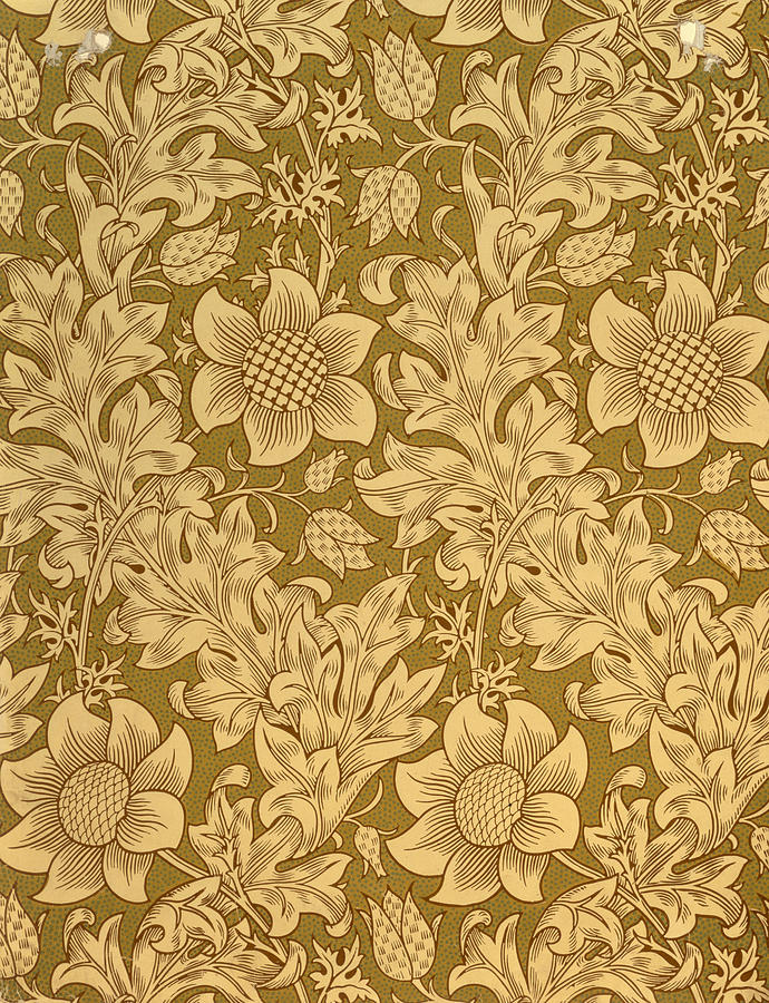 Monochrome Tapestry - Textile - Fritillary Wallpaper Design by William Morris
