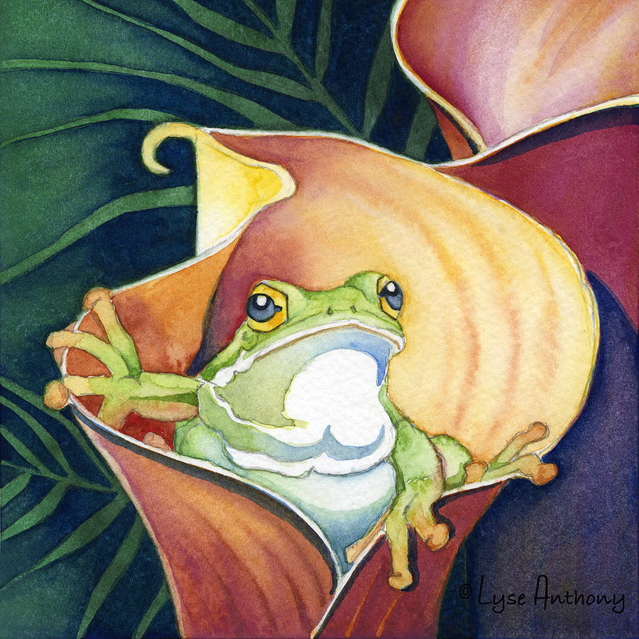 Frog In Gold Calla Lily Painting  - Frog In Gold Calla Lily Fine Art Print
