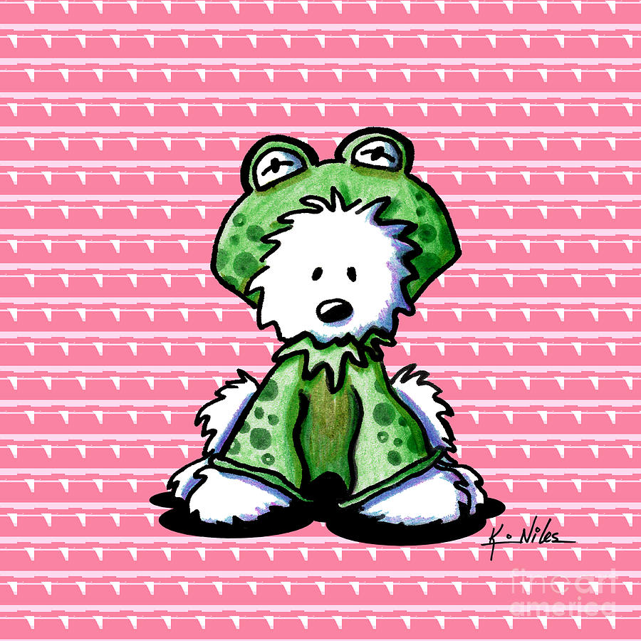 Westie Terrier Drawing - Frog Prince Westie Dog by Kim Niles