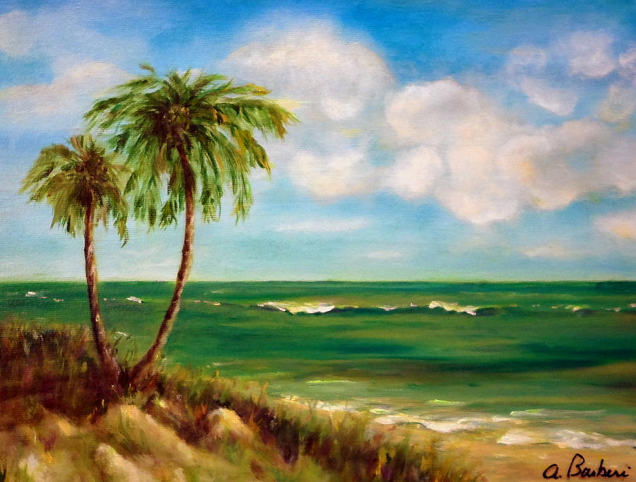 Beach Paintings Painting - From The Beach by Anne Barberi