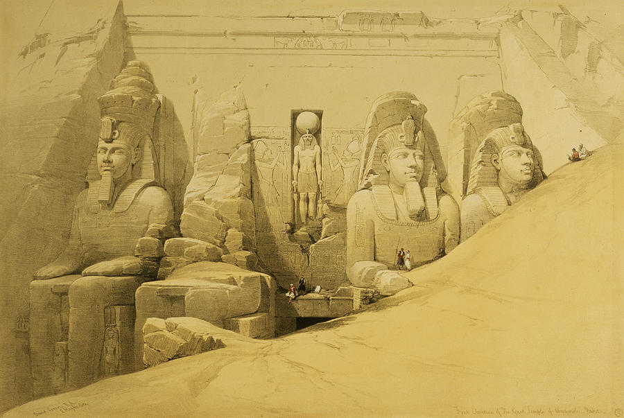 Front Elevation Of The Great Temple Of Aboo Simbel Painting  - Front Elevation Of The Great Temple Of Aboo Simbel Fine Art Print