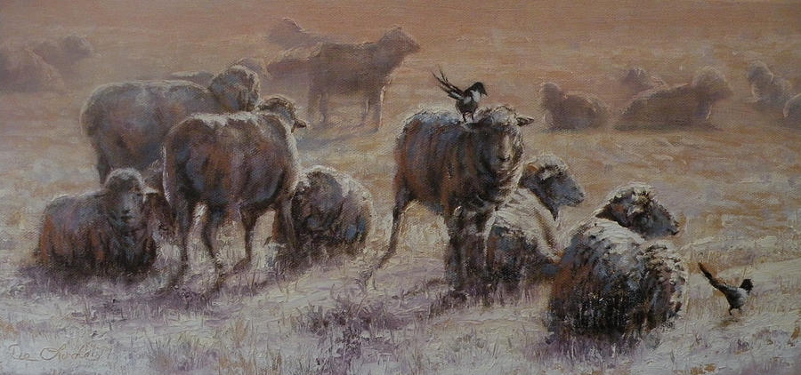 Sheep Painting - Frosty Morning by Mia DeLode