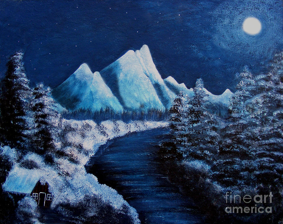 Frosty Night In The Mountains Painting