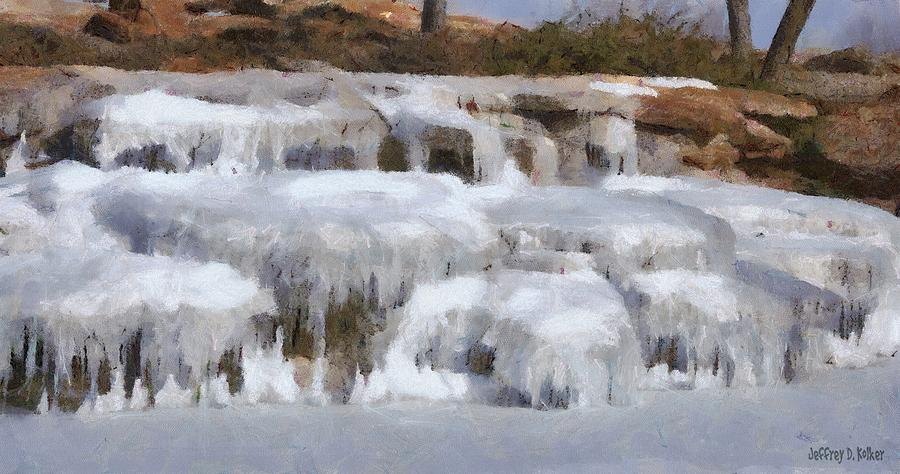 Brown Painting - Frozen Falls by Jeff Kolker