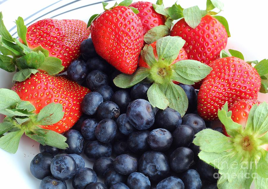 Fruit 2- Strawberries - Blueberries Photograph
