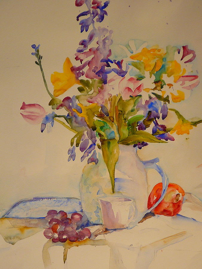 Watercolor Painting - Fruit And Flowers by Valerie Lynch