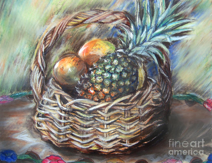 Fruit Basket Pastel  - Fruit Basket Fine Art Print