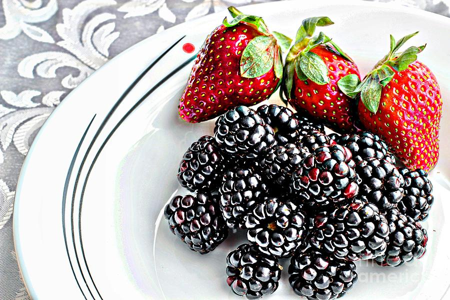 Fruit I - Strawberries - Blackberries Photograph  - Fruit I - Strawberries - Blackberries Fine Art Print