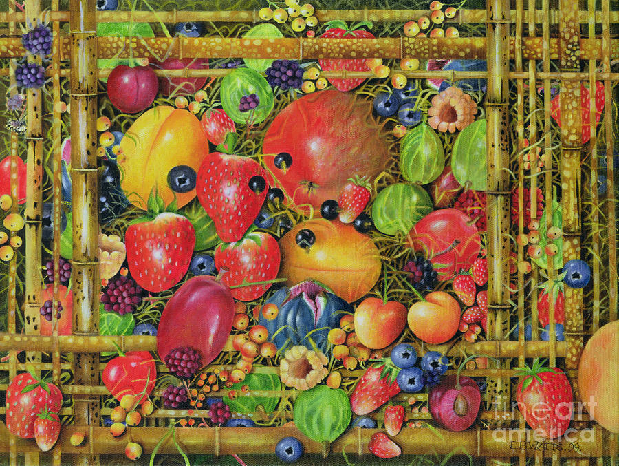 Fruit In Bamboo Box Painting  - Fruit In Bamboo Box Fine Art Print
