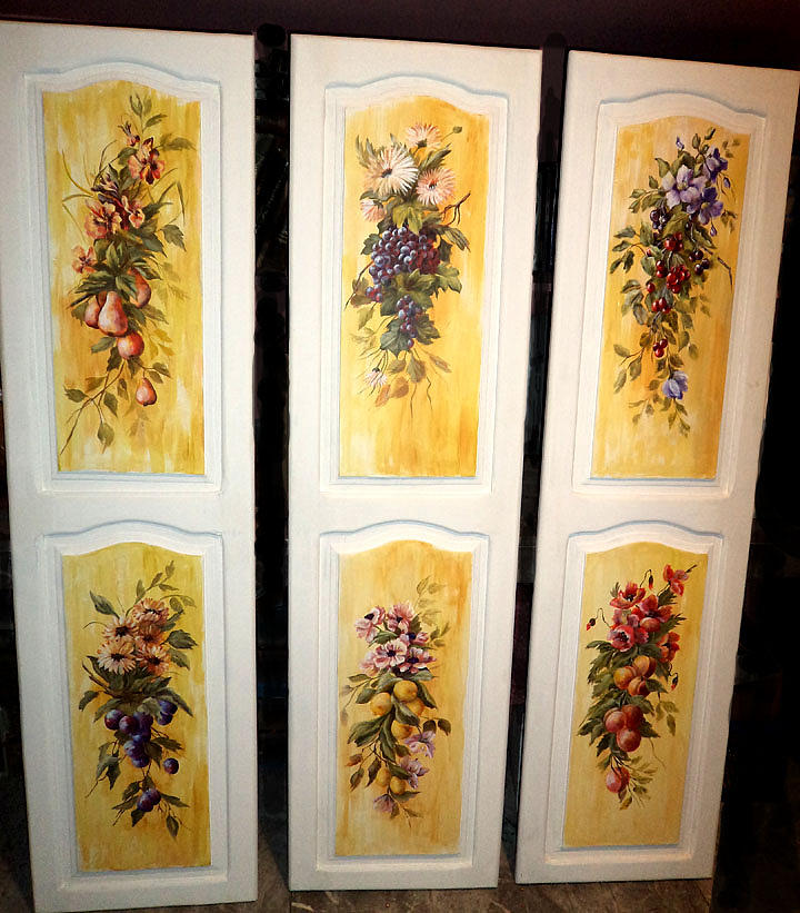 Pears Painting - Fruit Panels by Patricia Rachidi