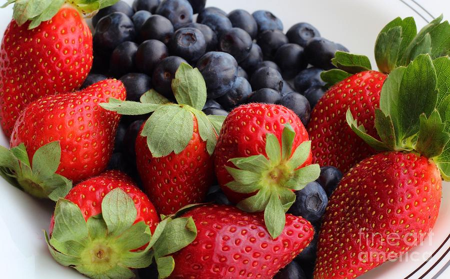 Fruit - Strawberries - Blueberries Photograph