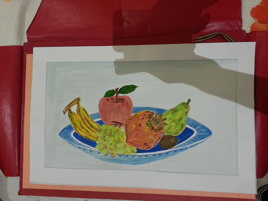 Different Kind Of Fruits Are Laying In Fruit Trey Like Apple Banana Etc. Painting - Fruit Trey by Ramroop Yadav