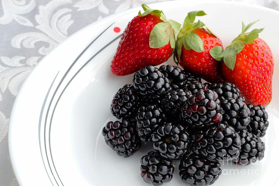 Fruit V - Strawberries - Blackberries Photograph  - Fruit V - Strawberries - Blackberries Fine Art Print