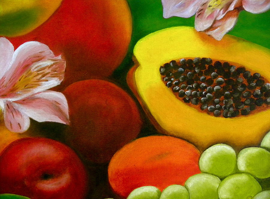 Fruits And Flowers Painting By Fanny Diaz