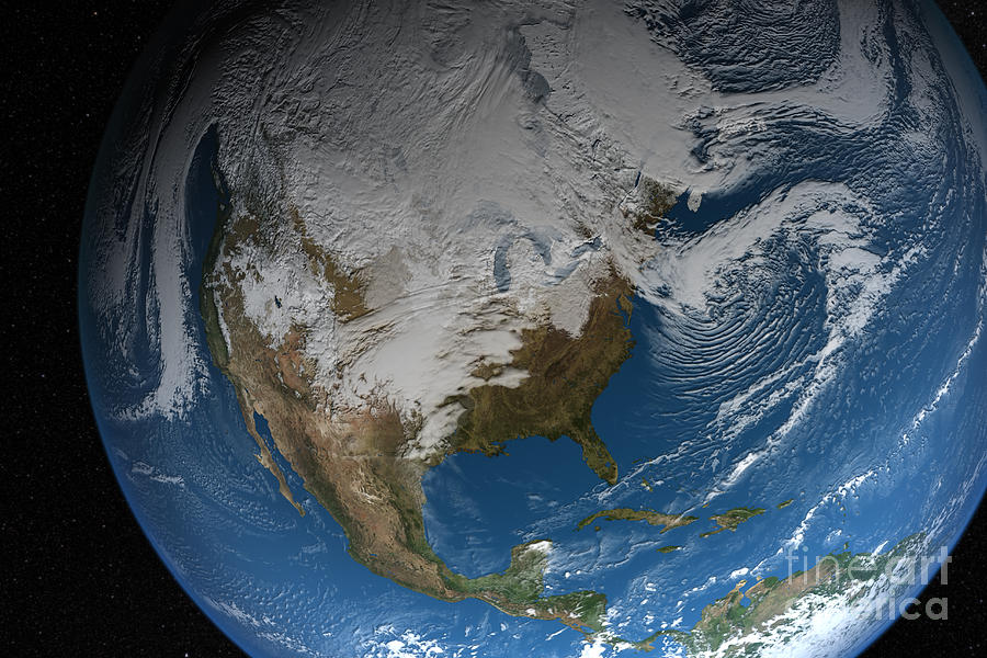 Ful Earth Showing Simulated Clouds Photograph