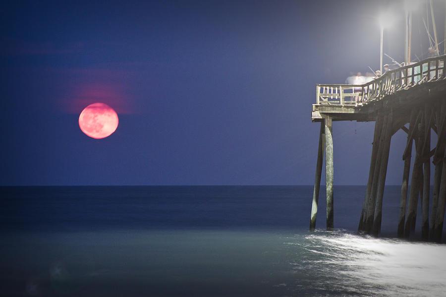 Full Moon Print Photograph - Full Moon At Carolina Beach Pier by Phil Mancuso