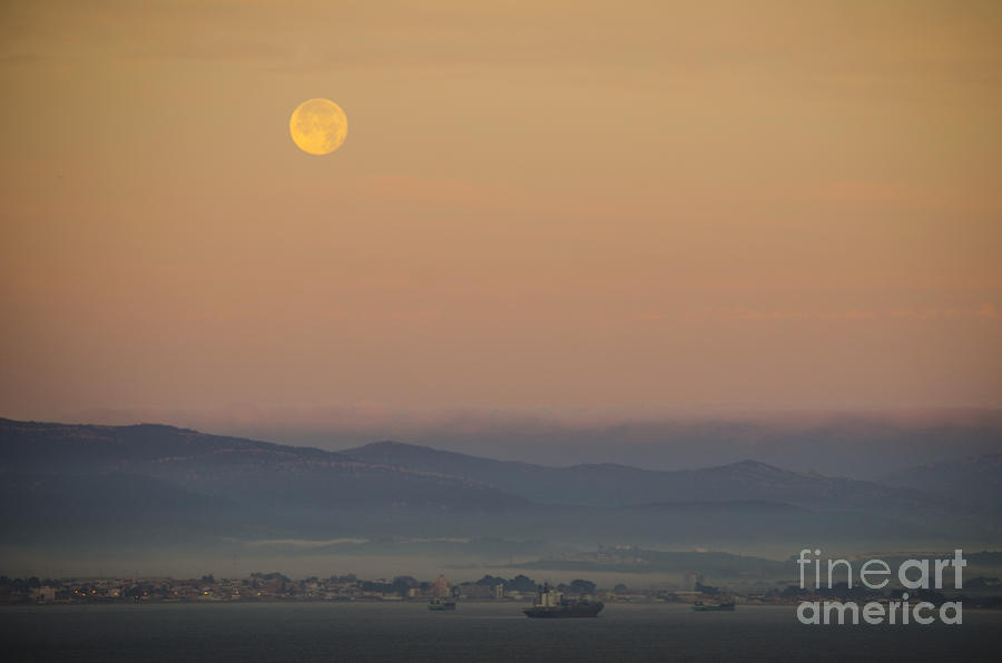 Full Moon At Sunrise Over Spanish Coast Photograph  - Full Moon At Sunrise Over Spanish Coast Fine Art Print