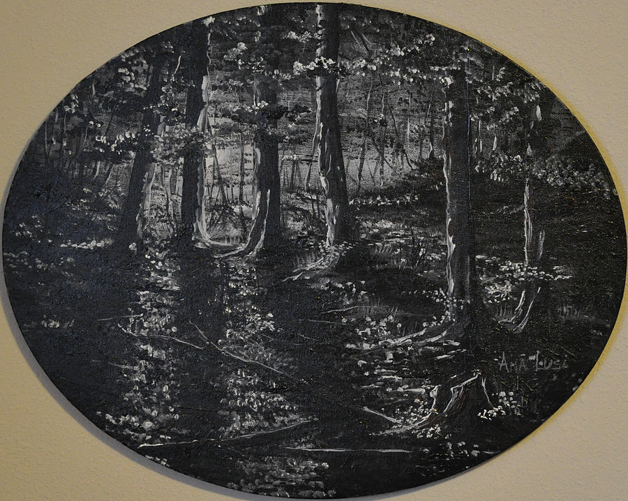 Full Moon In The Woods Painting  - Full Moon In The Woods Fine Art Print