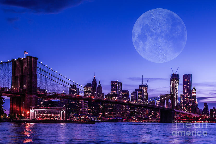 Nyc Photograph - Full Moon Over Manhattan II by Hannes Cmarits