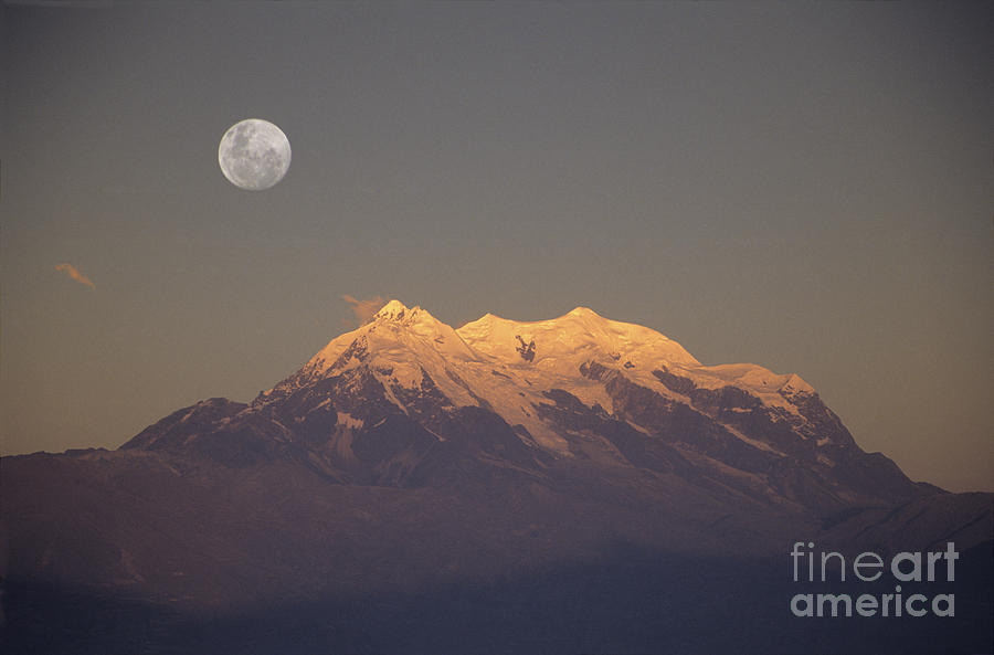 Full Moon Rise Over Mt Illimani Photograph  - Full Moon Rise Over Mt Illimani Fine Art Print