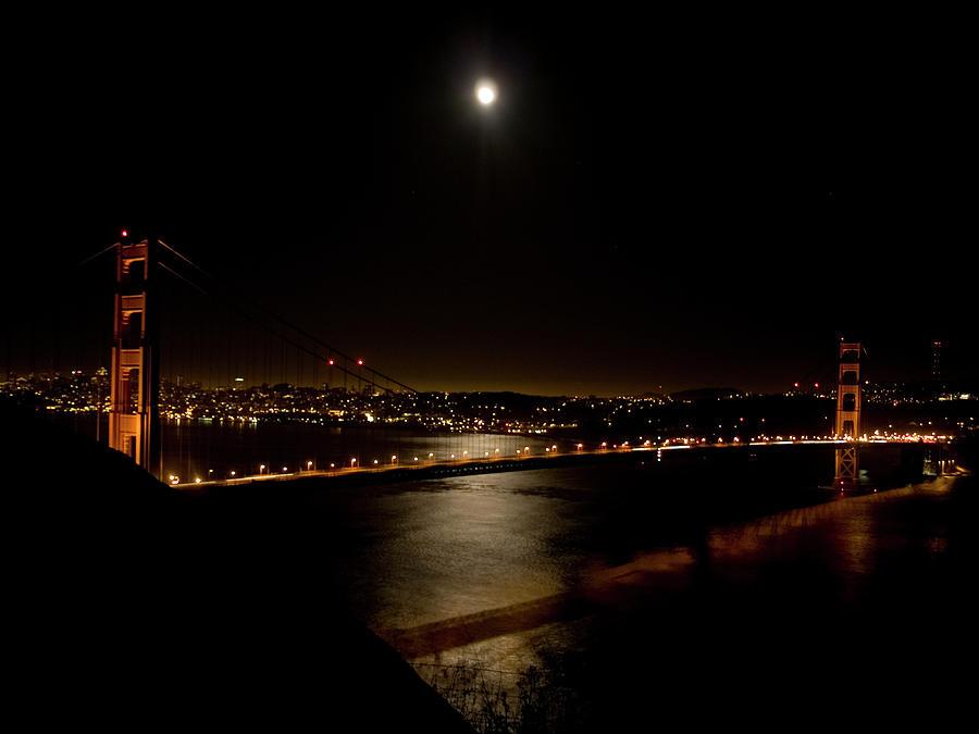Golden Gate Bridge Photograph - Full Moon Rising by Bill Gallagher