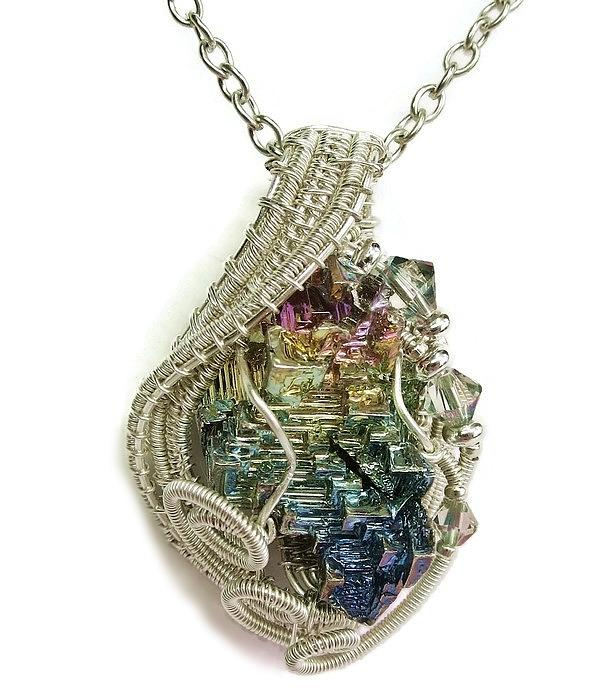 full spectrum bismuth pendant with swarovski crystal in