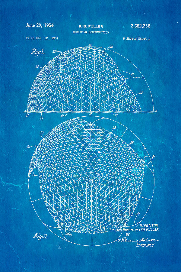 Fuller Geodesic Dome Patent Art 1954 Blueprint Photograph