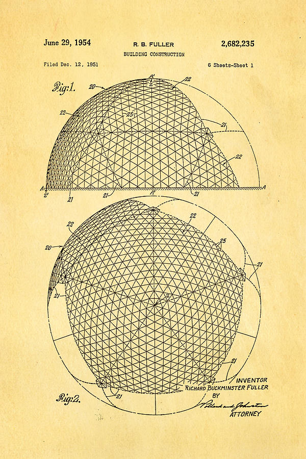 Fuller Geodesic Dome Patent Art 1954  Photograph