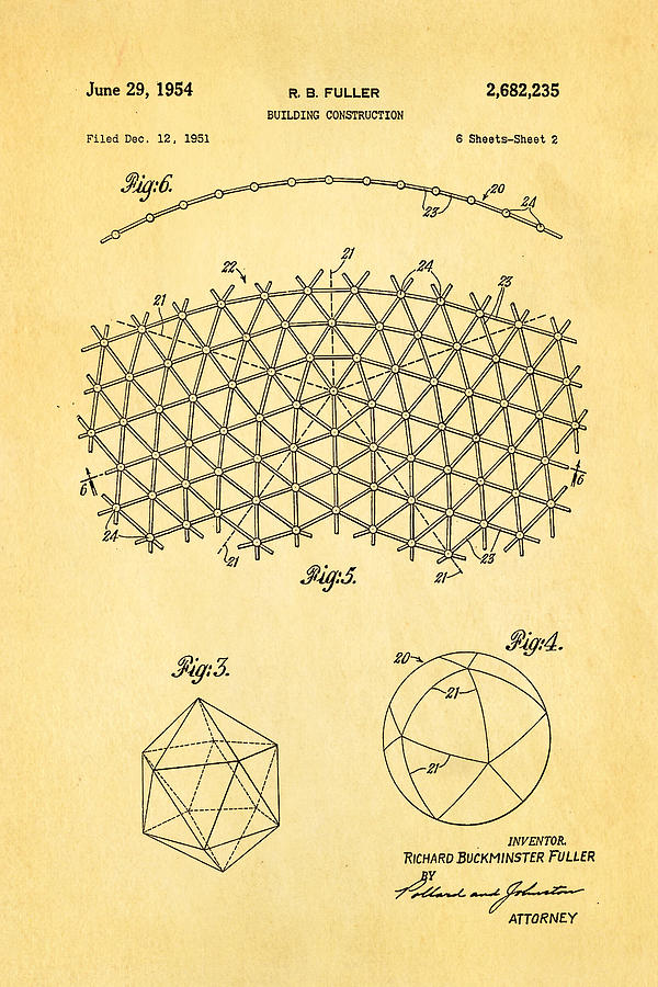 Fuller Geodesic Dome Patent Art 2 1954  Photograph