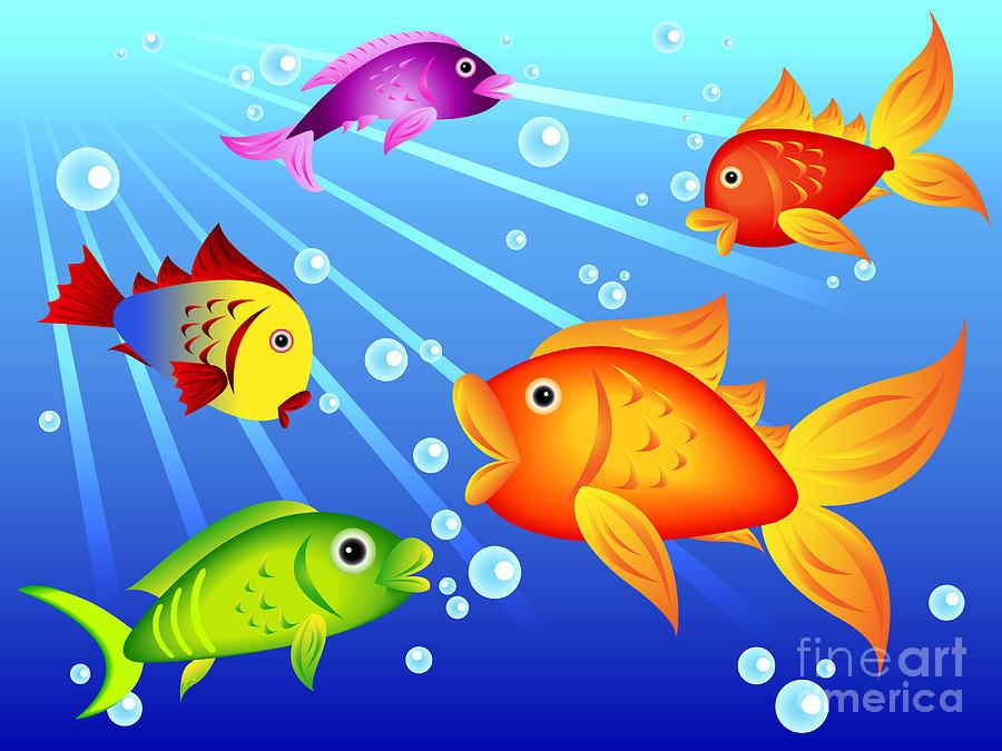 Colorful Fish Painting Colorful Fish Artwork