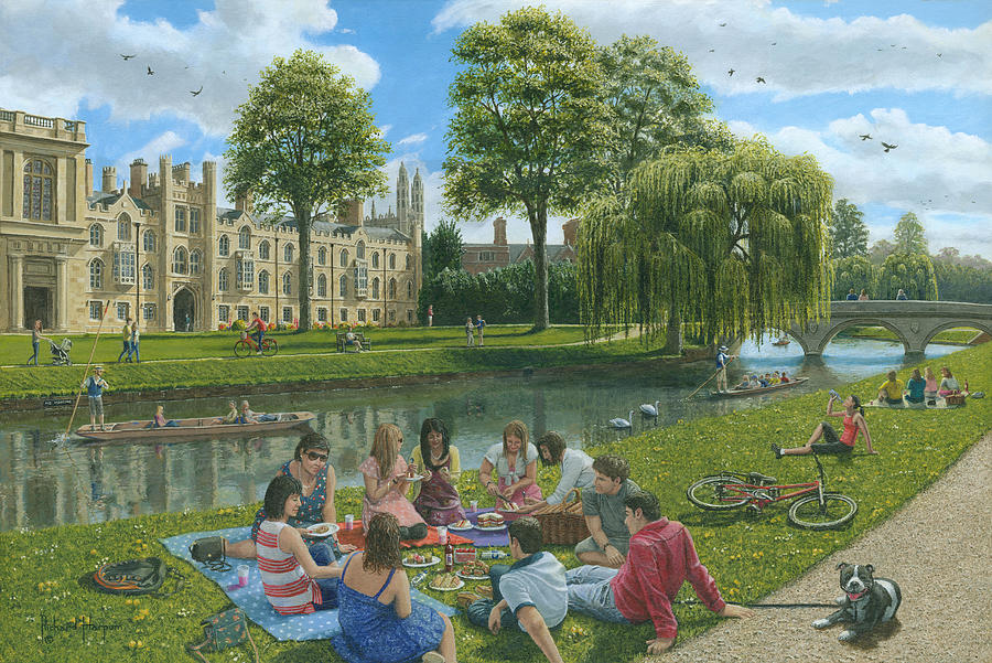 Fun On The River Cam Cambridge Painting