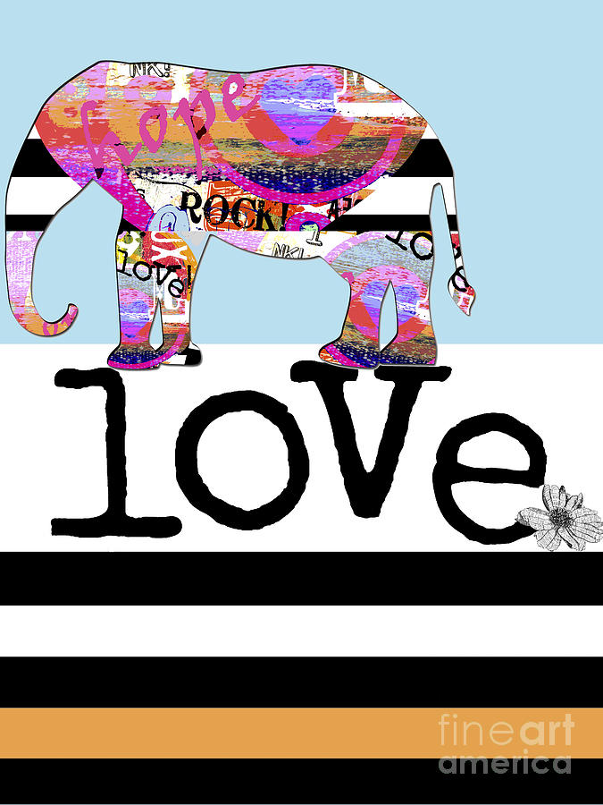 Fun Rock And Roll Elephant Digital Art  - Fun Rock And Roll Elephant Fine Art Print