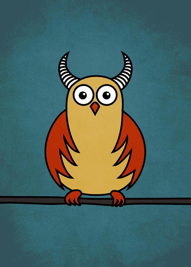 Funny Cartoon Horned Owl  Digital Art