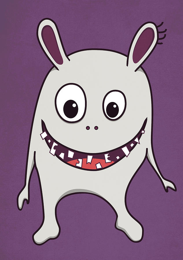 Funny Crazy Happy Monster Digital Art  - Funny Crazy Happy Monster Fine Art Print