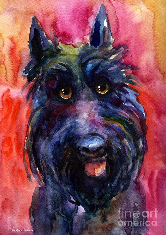 Funny Curious Scottish Terrier Dog Portrait Painting