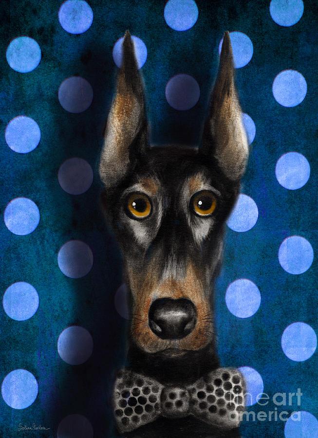 Funny Doberman Pincher Gentleman Dog Portrait Painting