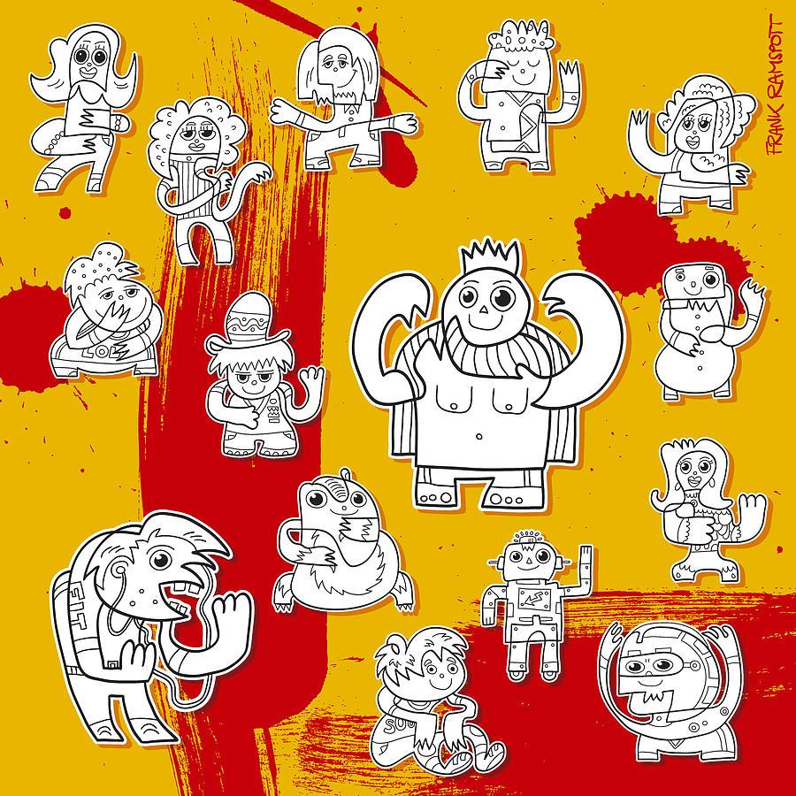 Funny Doodle Characters Urban Art Digital Art