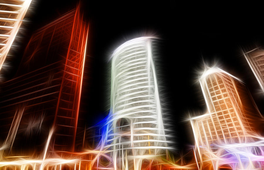 Futuristic Buildings In Berlin Potsdamer Platz Digital Art Digital Art  - Futuristic Buildings In Berlin Potsdamer Platz Digital Art Fine Art Print