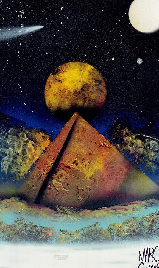 Lanscape Painting - Galaxy Desert Pyramids by Marc Chambers