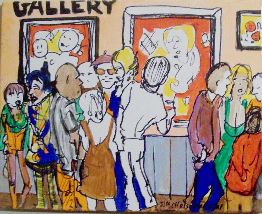 Gallery Painting - Gallery Opening  by James Christiansen