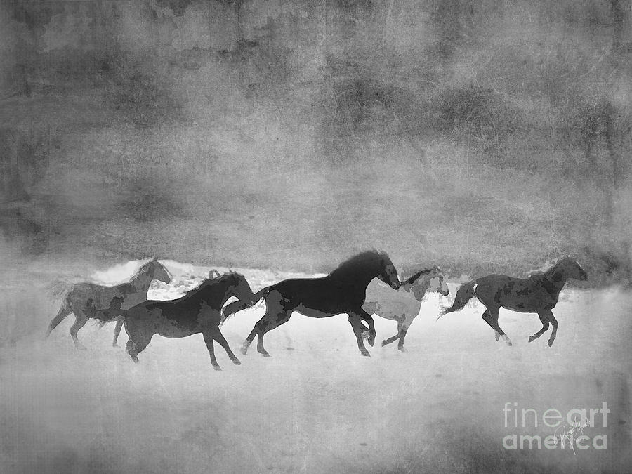 Galloping Herd Black And White Digital Art  - Galloping Herd Black And White Fine Art Print
