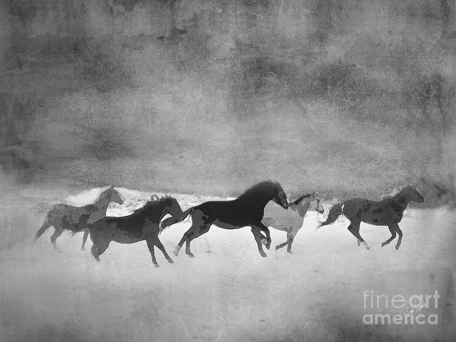Galloping Herd Black And White Digital Art