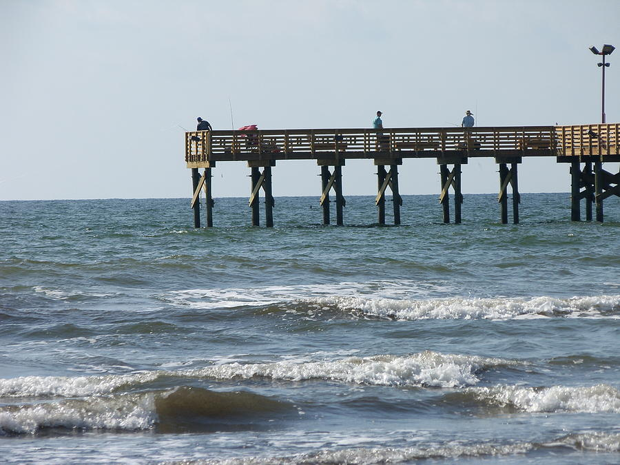 Galveston fishing pier photograph by lawrence hess for Galveston fishing pier