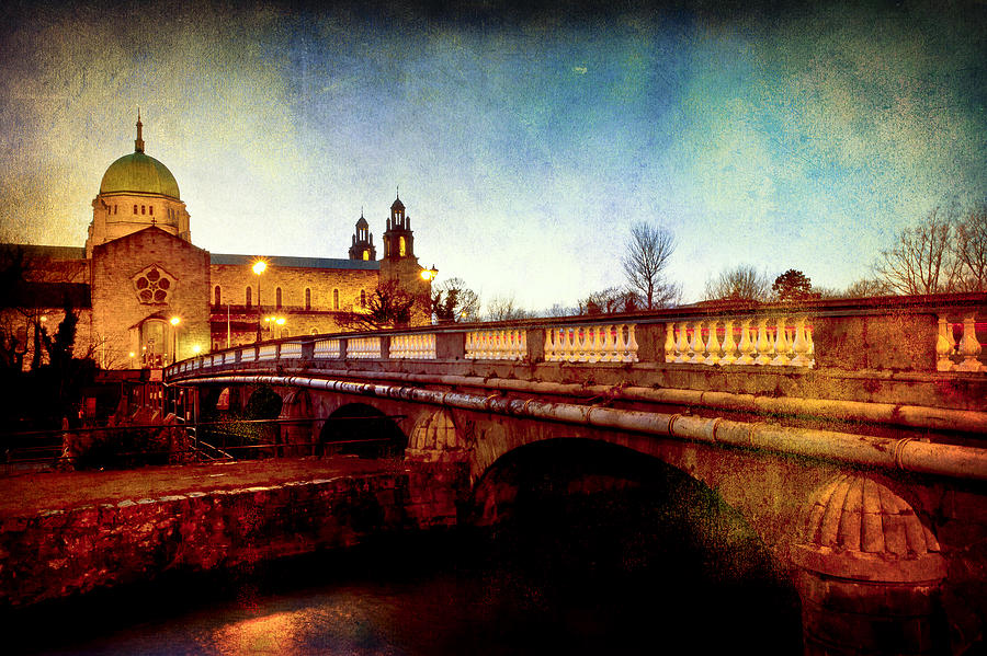 Galway Cathedral And The Salmon Weir Bridge Photograph