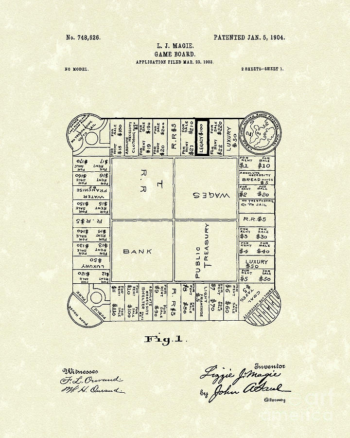 Game Board 1904 Patent Art Drawing